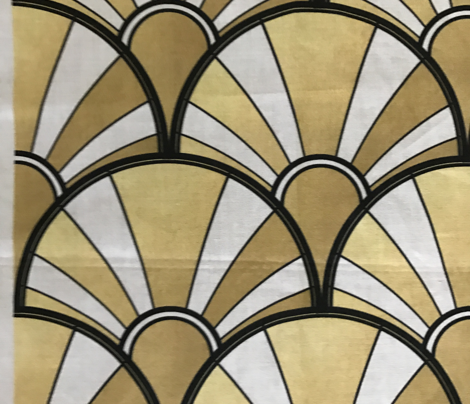 Art Deco Fan in Gold, White and Black.