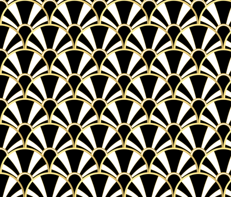 Art Deco Fan in Black, White and Gold fabric by suzzincolour on Spoonflower - custom fabric