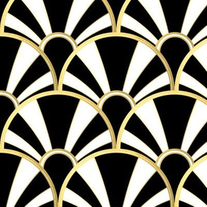 Art Deco Fan in Black, White and Gold