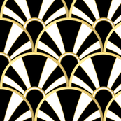 Deco Fan in Black, White and Gold
