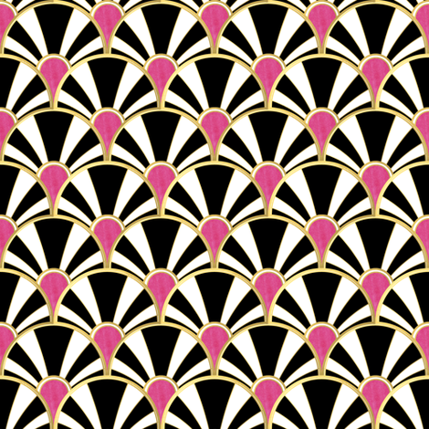 Art Deco Fan in Black, White and Magenta fabric by suzzincolour on Spoonflower - custom fabric