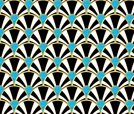 Art Deco Fan in Black, White and Aqua fabric by suzzincolour on Spoonflower - custom fabric