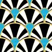 Art Deco Fan in Black, White and Aqua