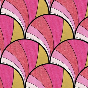 Warped Art Deco Fan in Gold and Pink Ombre