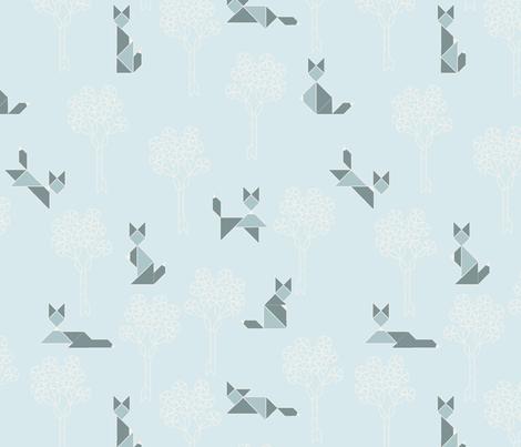 fox_tangram_monochrome_bleu fabric by nadja_petremand on Spoonflower - custom fabric