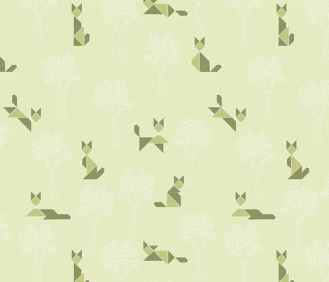 fox_tangram_monochrome_vert fabric by nadja_petremand on Spoonflower - custom fabric