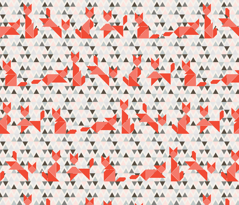 foxy_tangrams_gris fabric by nadja_petremand on Spoonflower - custom fabric