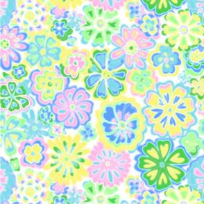 Wildflowers pale watercolor