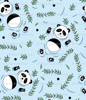 Swimming pandas blue