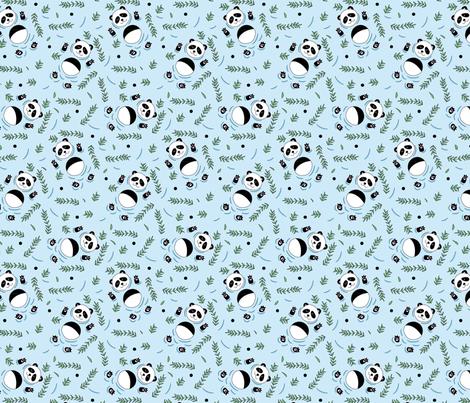 Swimming pandas blue fabric by annavashchuk on Spoonflower - custom fabric