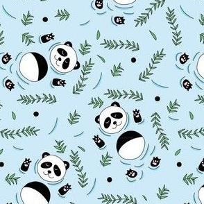Swimming pandas blue