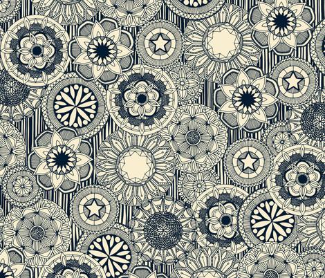 mandala cirque indigo cream fabric by scrummy on Spoonflower - custom fabric