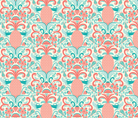 Ambrosia - Fruit Damask Pineapple Coral Aqua Cream fabric by heatherdutton on Spoonflower - custom fabric