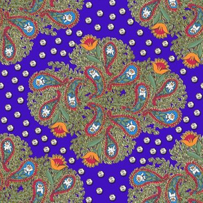 Floral Paisley on Royal Blue