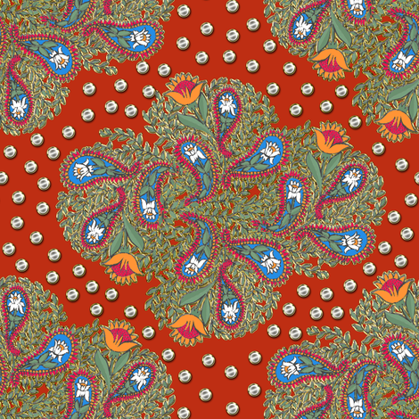 Floral Paisley on Red fabric by eclectic_house on Spoonflower - custom fabric