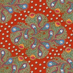 Floral Paisley on Red