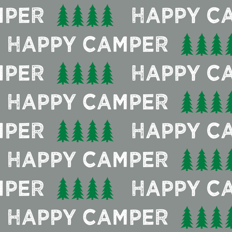 happy camper || dark grey and green fabric by littlearrowdesign on Spoonflower - custom fabric