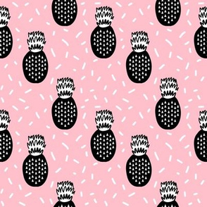 pineapple fabric black and white scandi kids summer fruit fabric