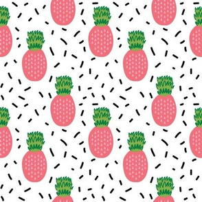pineapple fabric pink and lime tropical summer fruit fabric
