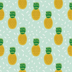 pineapple fabric mint tropical summer fruit fabric