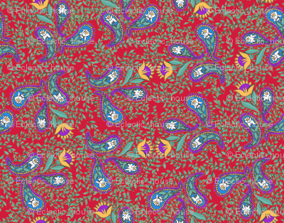 Allover Floral Paisley Purple on Red