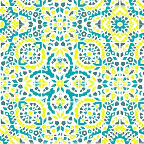 turquoise and yellow mosaic //summer   turquoise and yellow