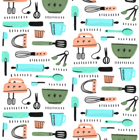 Baking Supplies Fabric By Ellolovey On Spoonflower