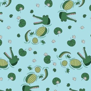 blue swimming crocodile