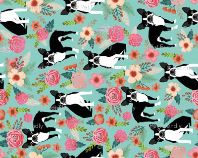 boston terrier fabric florals spring dog fabrics