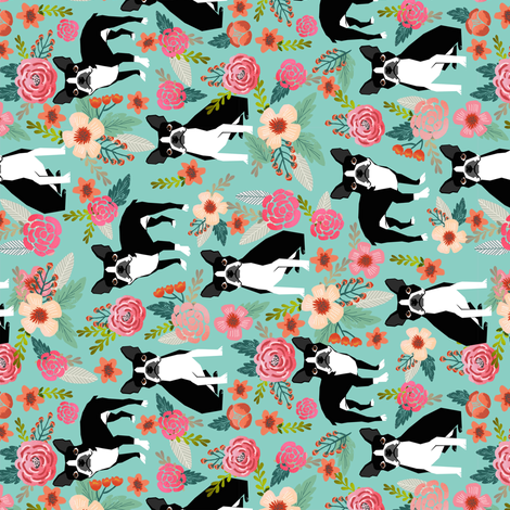 boston terrier fabric florals spring dog fabrics fabric by petfriendly on Spoonflower - custom fabric