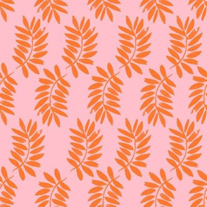 palms fabric // palm leaf tropical leaves fabric tropical fabric - pink and orange