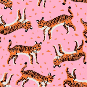 tigers fabric // tiger animal safari fabric andrea lauren - pink and orange