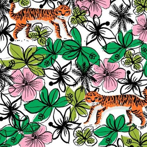 tropical tigers fabric // hibiscus palms palm plants summer print by andrea lauren - orange tiger