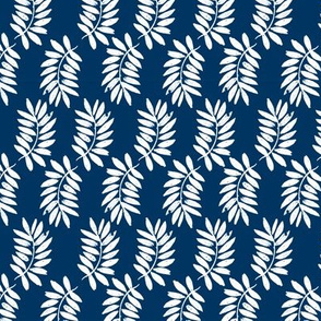 palms fabric // palm leaf tropical leaves fabric tropical fabric - navy and white