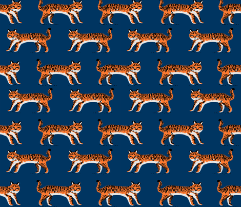 tiger fabric // tigers animals safari fabric - navy and orange fabric by andrea_lauren on Spoonflower - custom fabric