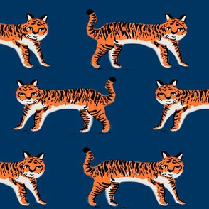 tiger fabric // tigers animals safari fabric - navy and orange