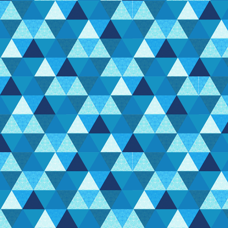summer Blue triangle Hexagon cheater quilt fabric by magentarosedesigns on Spoonflower - custom fabric