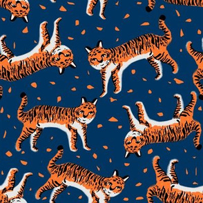 tigers fabric // tiger animal safari fabric andrea lauren - orange and navy