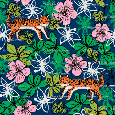 tropical tigers fabric // hibiscus palms palm plants summer print by andrea lauren - navy and orange