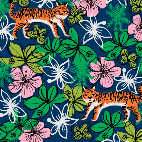 tropical tigers fabric // hibiscus palms palm plants summer print by andrea lauren - navy and orange fabric by andrea_lauren on Spoonflower - custom fabric