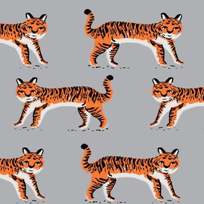 tiger fabric // tigers animals safari fabric - orange tigers