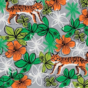 tropical tigers fabric // hibiscus palms palm plants summer print by andrea lauren - grey and orange