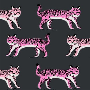 tiger fabric // tigers animals safari fabric - pink tigers