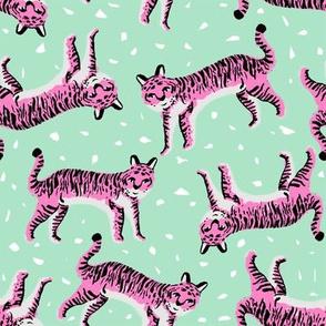 tigers fabric // tiger animal safari fabric andrea lauren - mint and pink