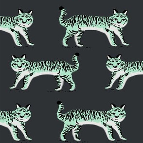 tiger fabric // tigers animals safari fabric - mint and charcoal