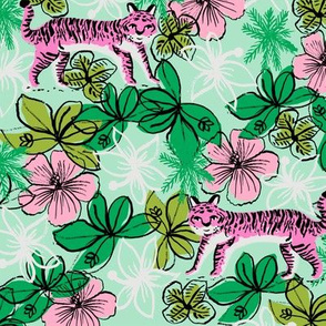tropical tigers fabric // hibiscus palms palm plants summer print by andrea lauren - pink and mint