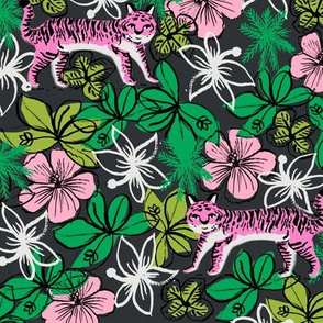 tropical tigers fabric // hibiscus palms palm plants summer print by andrea lauren - pink tigers
