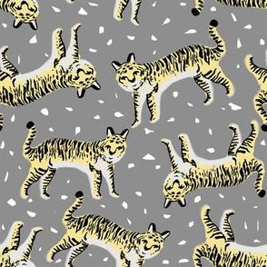 tigers fabric // tiger animal safari fabric andrea lauren - grey and yellow