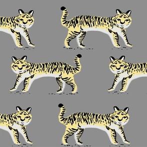 tiger fabric // tigers animals safari fabric - pastel yellow