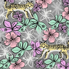 tropical tigers fabric // hibiscus palms palm plants summer print by andrea lauren - pastels